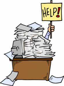0511-0702-0211-2547_Businessman_Holding_a_Help_Sign_Up_Under_a_Pile_of_Papers_clipart_image